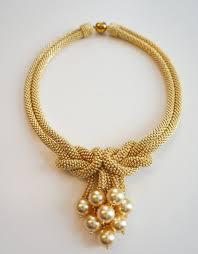 pearls swarovski necklace images Gold love knot necklace with gold swarovski pearls designedbynatasha jpg