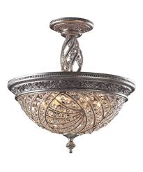 Crystal Flush Mount Lighting Elk Lighting 6233 6 Renaissance 20 Inch Wide Semi Flush Mount