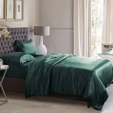 25 momme hunter green silk bed linen