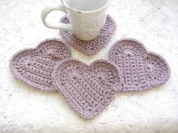 Heart Home Decor Drink Coasters Lilac Crochet Coasters Purple Crochet Heart