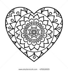 doodle heart mandala coloring outline stock vector 476918929
