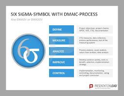 six sigma symbol with dmaic process define measure analyze