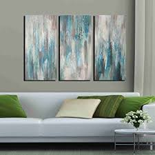 Wall Art Sets For Living Room Amazon Com Artland Hand Painted U0027sea Of Clarity U0027 Oil Painting