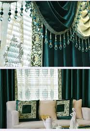 new arrival denali green and blue waterfall and swag valance and