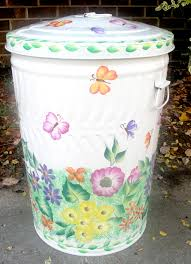 hand painted trash cans diy pinterest craft decoupage and