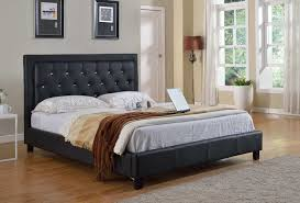 stacey pu platform bed with diamond headboard full size black