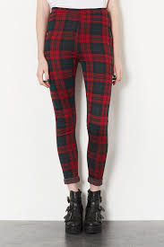 topshop green and red check treggings fw style pinterest