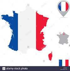 Flag Capital France Map In National Flag Colors Flag Marker And Location Of