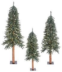 natural 3 piece bark alpine tree set traditional christmas