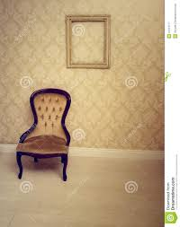 Victorian Upholstered Chair Antique Upholstered Chair In A Wallpapered Room Royalty Free Stock