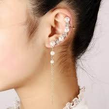 ear cuff earrings 2017 left ear cuff flower pearl rhinestone earrings for women high