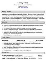 hr coordinator job resume curriculum vitae architetto formato