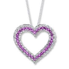 pink sapphire necklace images Jared heart necklace natural pink sapphire 14k white gold jpg