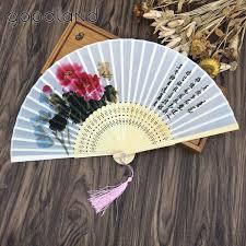 hand held folding fans free shipping 1pcs lotus flower pattern bamboo silk hand fan four