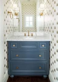 farrow and bathroom ideas blue and gold powder room features walls clad in farrow