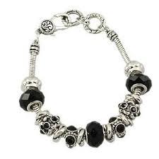 bracelet pandora murano images Black diamond murano glass bead bracelet pandora inspired vintage jpg&a