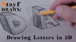 how to draw 3d letters youtube