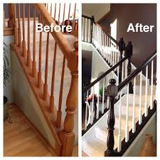 Painting A Banister White How To Paint An Oak Stair Railing Black And White House