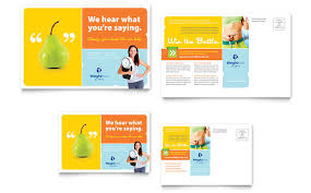 weight loss clinic postcard template design
