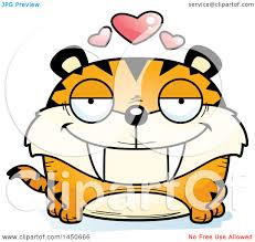 clipart graphic of a cartoon loving saber toothed tiger character