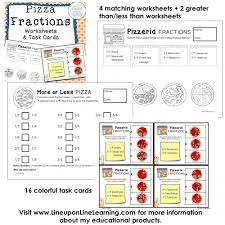 fractions posters games and worksheets pizza theme u2013 line upon