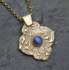 sapphire star necklace images Star sapphire and gold metal clay necklace with mehndi quatrefoil jpg
