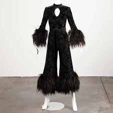 1970s jumpsuit 1970s lillie rubin metallic burnout velvet jumpsuit with ostrich