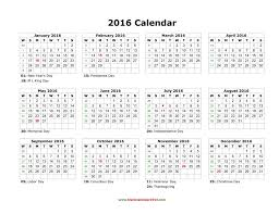 2016 printable yearly calendar free
