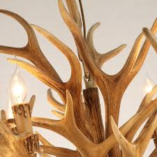 rustic style resin antler whitetail branch 2 tier 12 candle light