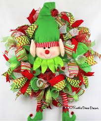 christmas wreath christmas elf christmas decor deco mesh wreath