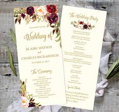 wedding program template wedding program template printable editable 4x9 fall