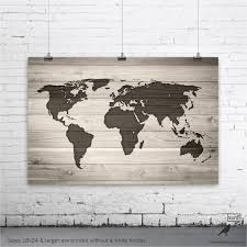World Map Wall Poster by World Map Poster World Map On Digital Wood Background Large