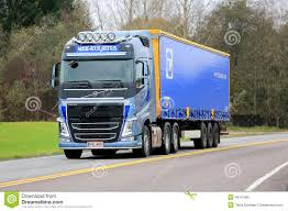 volvo highway tractor blue volvo fh semi truck on the road editorial photo image 49751996
