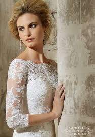 mori bridal 2776 lace three quarter sleeve wedding dress