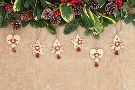 christmas background border with old fashioned wooden decorations