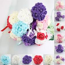Flowers Home Decoration 7 Heads Colourfast Foam Roses Crystal Artificial Flower Home