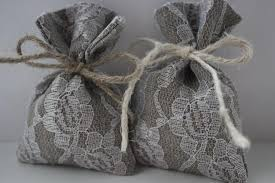 lace favor bags set of 10 wedding favor bags grey linen favor bags lace favor