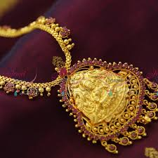 necklace online store images Nl2308 temple laxmi pendant ruby stones indian traditional ethnic JPG