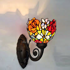 Stained Glass Wall Sconce Pastoral Sunflower Butterfly Pattern Soldering Wall Lights