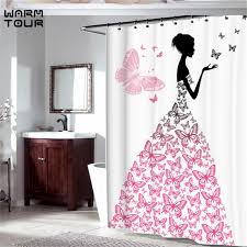 Feminine Shower Curtains Pink Butterfly With Floral Dress Flower Wings