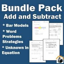 addition subtraction solve word problems math worksheets bar model