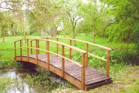 decor backyard landscape ideas with wooden garden bridges and
