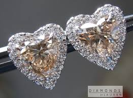 heart shaped diamond earrings brown diamond earrings diamond halo earrings heart shape earrings