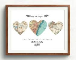 wedding gift etsy engagement gift heart map printpersonalize map heart map