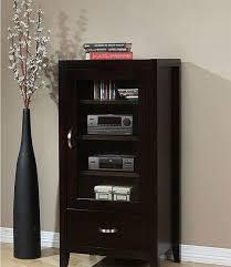 Tv Media Cabinets With Doors Axium Contemporary Espresso Finish Wood Drawer Glass Door Audio