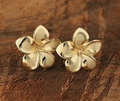 Hawaii travel jewelry case images Yellow gold plumeria post earring 16mm makani hawaii hawaiian jpg