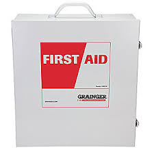 grainger approved empty first aid cabinet wall mount metal