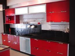 red and white kitchen cabinets light wooden floor storages