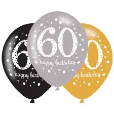birthday balloons 6 x 60th birthday balloons black silver gold party decorations age