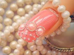 coral pearls beads and lace design acrylic easy nail art step by